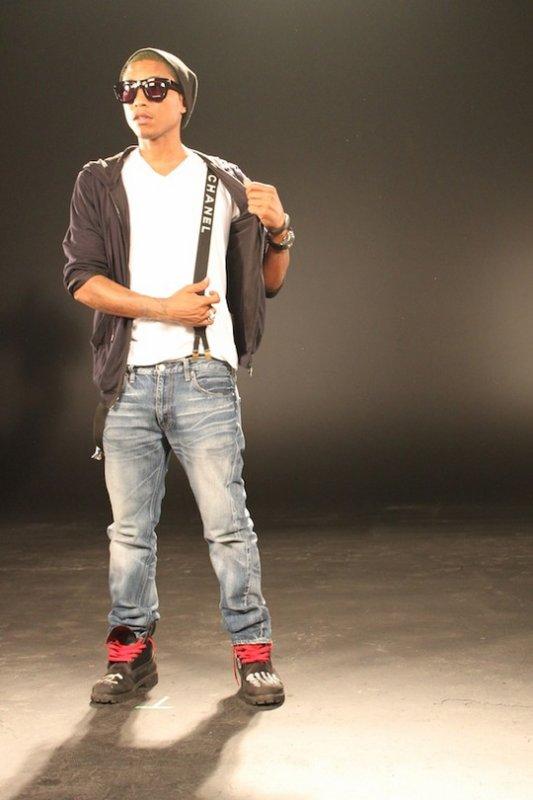 Pharrell sur le tournage d'un clip de DJ Khaled - mars 2012