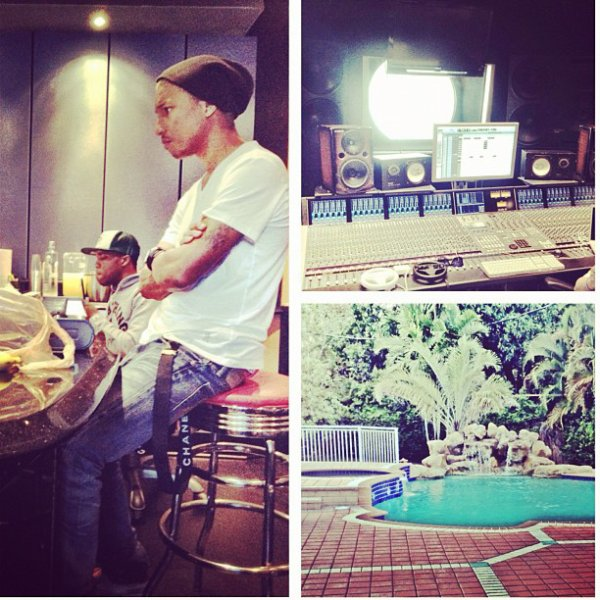 Pharrell en studio avec Curren$y - 3 avril 2012
