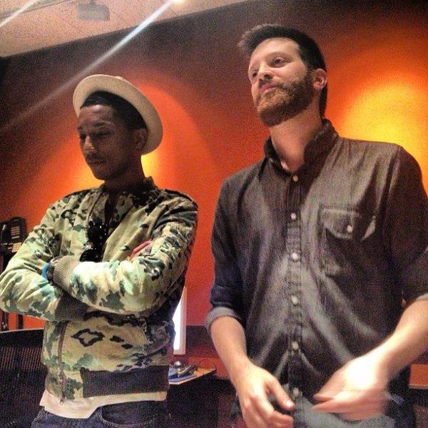 Pharrell en studio avec Mayer Hawthorne - 11 février 2013
