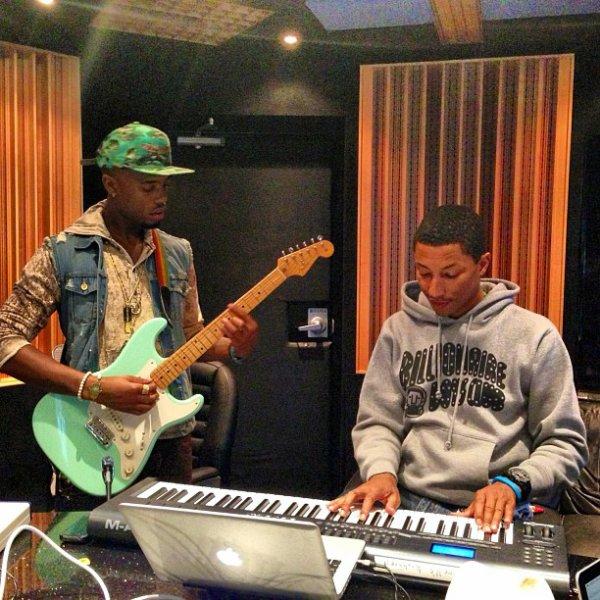 Pharrell en studio avec ... -  Miami - 23 février 2013