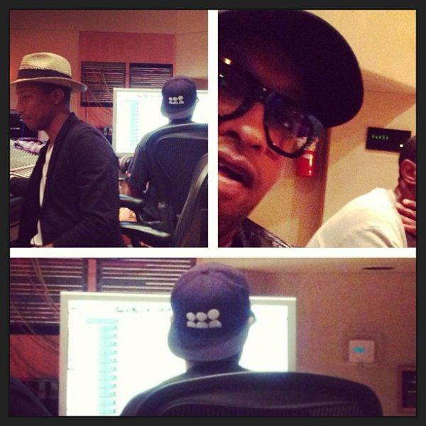 Pharrell en studio avec ... - 17 août 2013