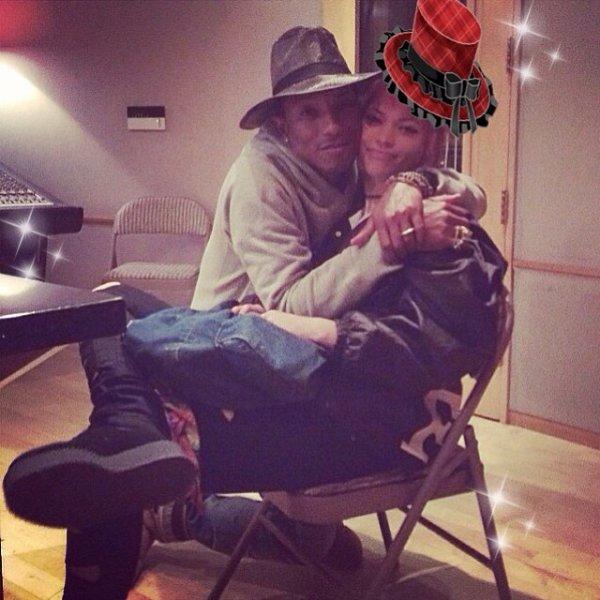Pharrell en studio avec ... - mai 2014