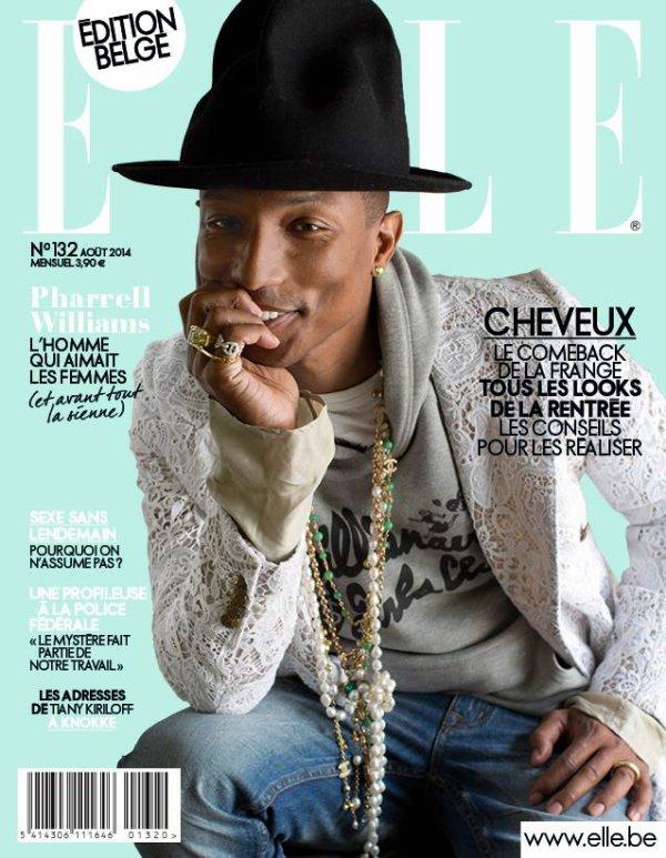 Pharrell en couverture de ELLE Belgique août 2014