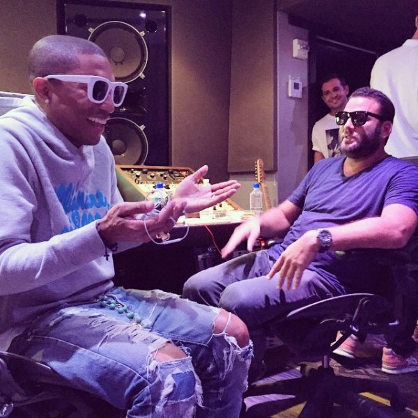 Pharrell en studio - Miami, FL - Octobre 2014