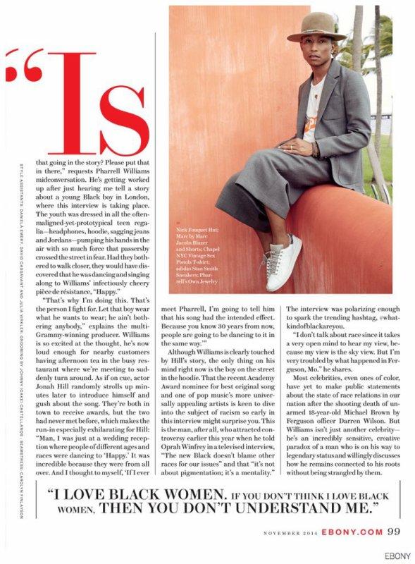 Pharrell - Ebony Magazine numéro de novembre 2014
