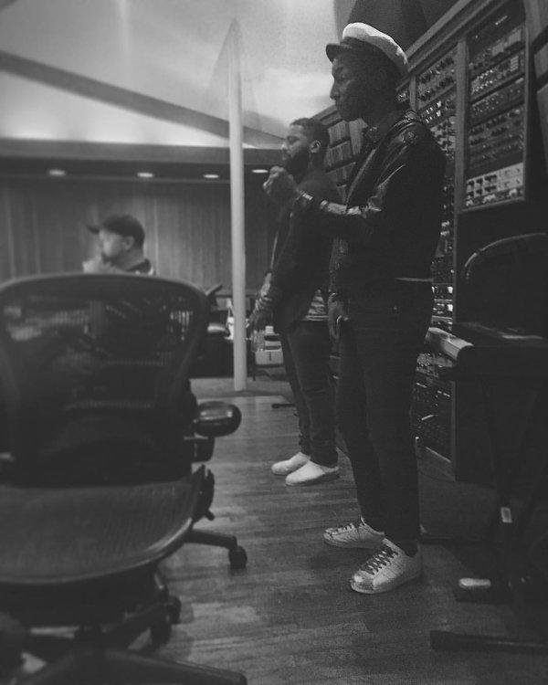 Pharrell en studio avec ... - Los Angeles - 1er octobre 2015