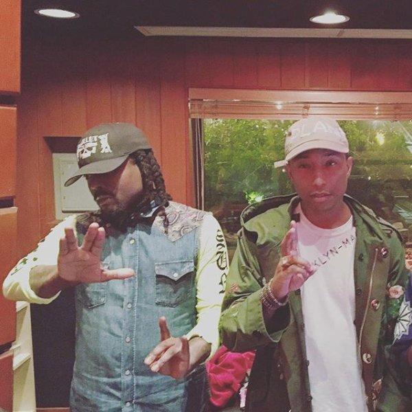 Pharrell en studio avec ... - 9 mai 2016