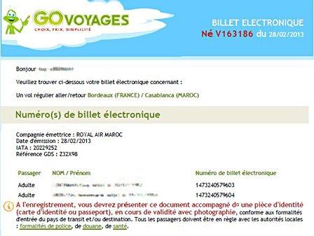 J'ai réservé via internet sur le site Go Voyage