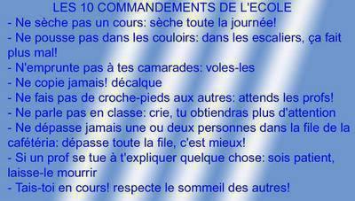 lé 10 commandements de l'écoles