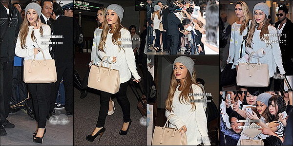 .  17/06/14 : Ariana Grande a été apercu  arrivant à l'aéroport de Narita au Japon et plus précisément à Tokyo. TOP ?.  La belle jeune femme  s'est présentée avec un look casual chic s'est précipitée  pour aller signer des autographes aux Arianators présentes.   .