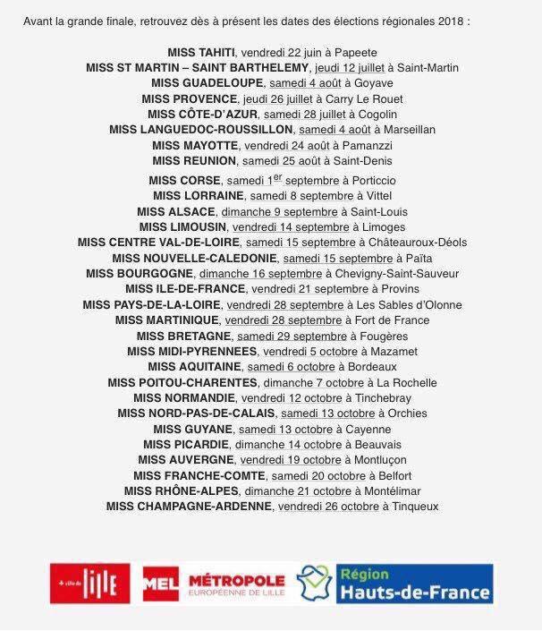 Candidates Miss France 2019 & dates élections & dates préparations & infos