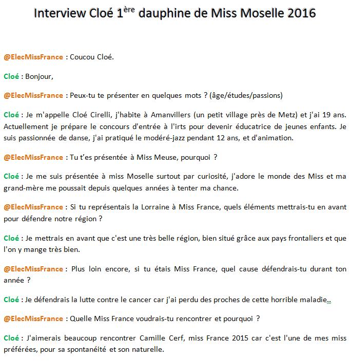 Interview Cloé 1ère dauphine de Miss Moselle 2016