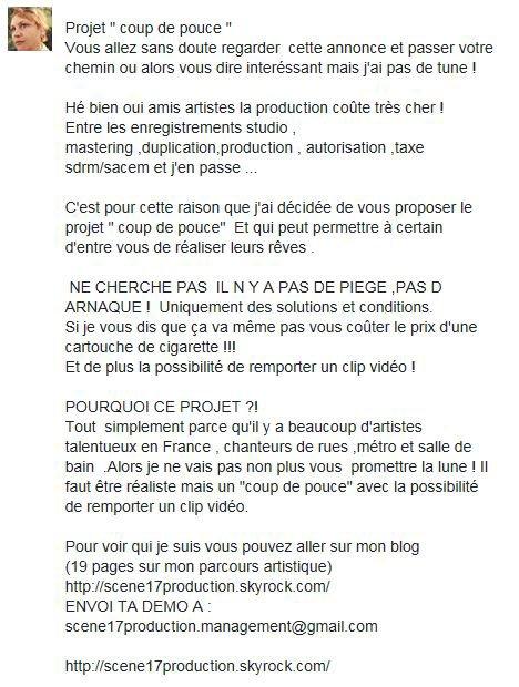 """PROJET""""COUP DE POUCE"""" POUR LES JEUNES TALENTS !  35 ¤ SEULEMENT !!!ATTENTION  OFFRE LIMITE A 14 PARTICIPANTS"""