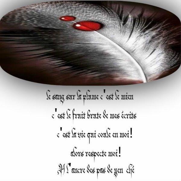 le sang sur la plume ( ancre avec un A en hommage a mon père) comme pour ancre de marine.