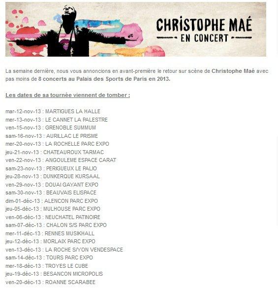 le 18 a Troyes et 19 à Besançon Décembre mes dates obliger ♥ et 4,5,6 Octobre au palais des sport si dieu le veux ♥