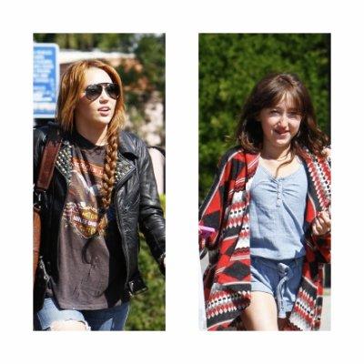 Lundi 11 Avril 2011 = Miley et Noah allant déjeuner au restaurant Sharky's,à L.A.
