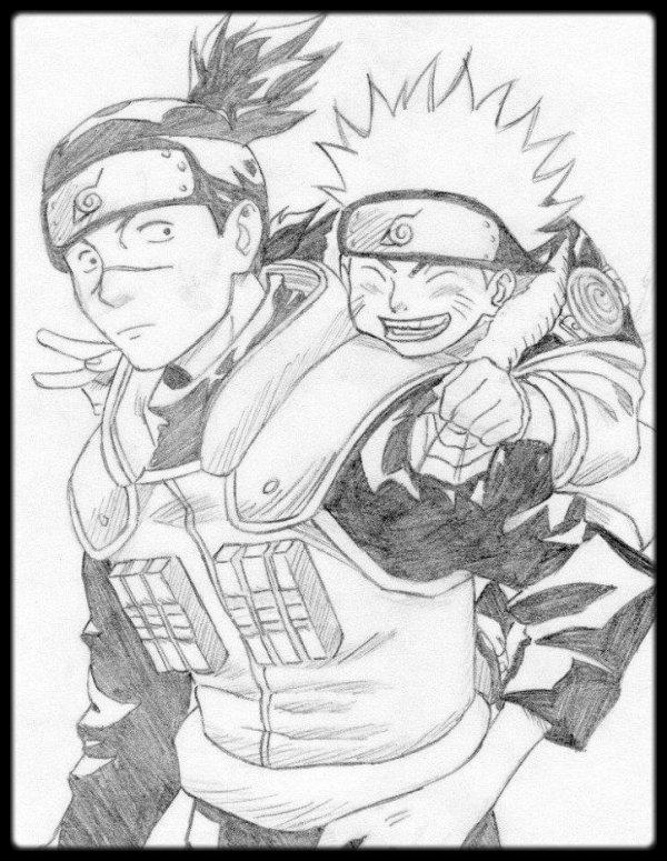 Iruka Senseï et Naruto.