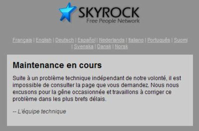 Maintenance sur  skyrock !
