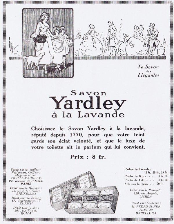🌸 Yardley  🧼  Les savons à la lavande - pubs de 1927 🌸