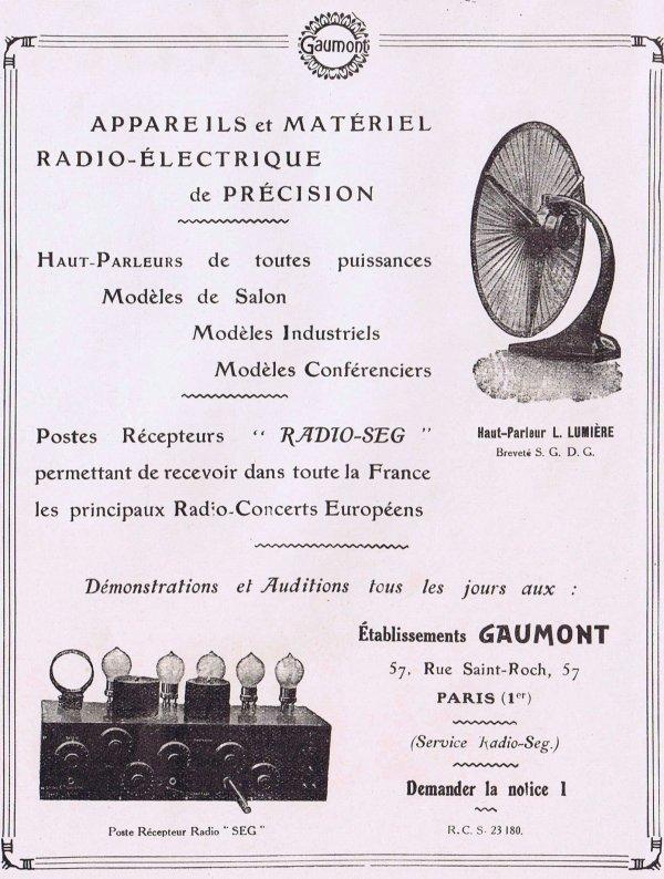 📻  Radio 📻 Ets Gaumont  (appareils & matériels électriques radiophoniques)   📻