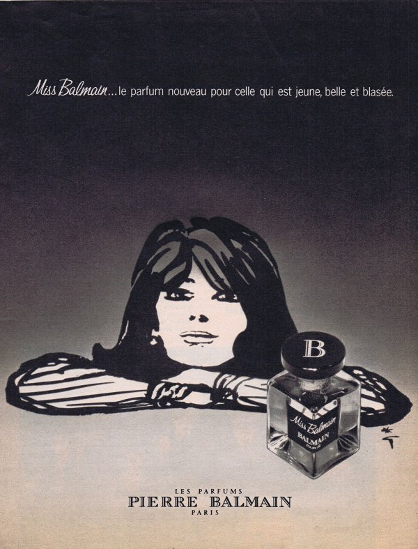 🎨 Dessin de René Gruau 🎨 🌸 Balmain  ✿  Miss Balmain 🌸