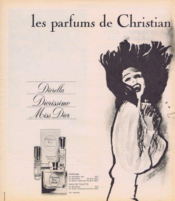 🎨 Dessin de René Gruau 🎨  🌸 Dior ✿ multi parfums 🌸