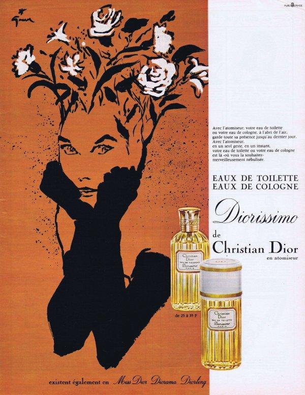 🎨 Dessin de René Gruau 🎨  🌸 Dior ✿ Diorissimo 🌸