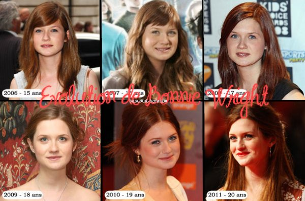 Evolution de Bonnie Wright.