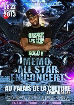 Memo All Star en concert au palais de la culture le 22septembre a partire de 16h...entrée:2000f et VIP: 3000f