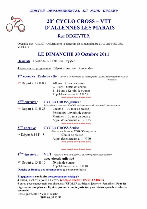 Organisation cross Allennes Les Marais, 30 octobre 2011