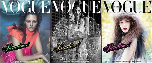 . Vittoria sur 3 covers différentes pour le VOGUE ITALIA du mois de Septembre.  .