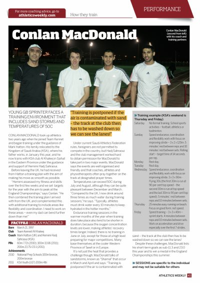 ARTICLE PARU DANS ATHLETICS WEEKLY SUR MON ATHLETE CONLAN MACDONALD