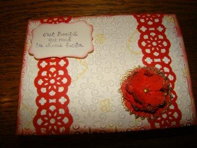 une carte fait sur le modèle de ma carte de noel pour le blog hop pour mon ami Céline qui a beaucoup de soucis en ce moment