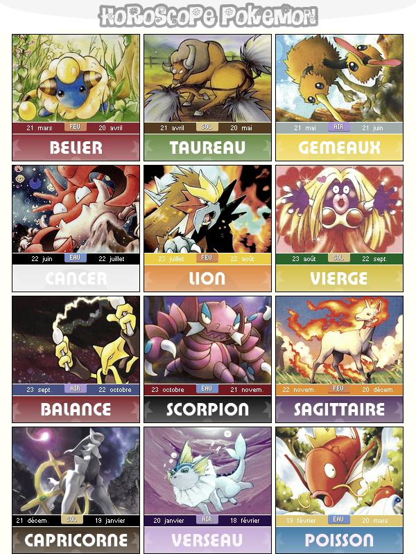 Article a Theme : Horoscope Pokemon