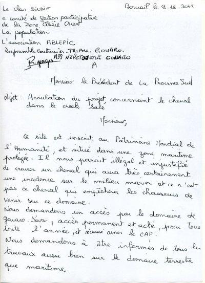 Lettre à Mr le President de la province sud