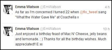 """Emma Watson , le 15 avril 2012 à """"the Florence""""  +  """"The Machine concert"""" à  Coachella et deux messages Twitter !"""