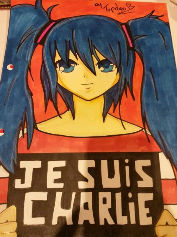 """Hatsune Miku - """"Je suis Charlie"""" fan art"""