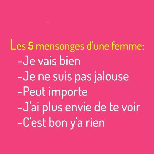 Les 5 mensonges d'une femme