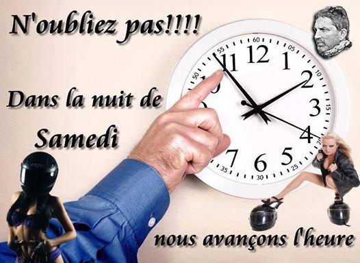 CHANGEMENT D'HEURE CE SAMEDI !!!  N'OUBLIEZ PAS...