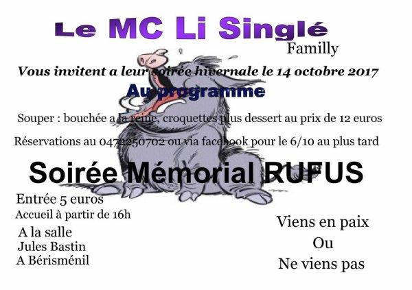 SOIREE HOMMAGE A RUFUS PRESIDENT DU MC LI SINGLE CE 14/10/2017