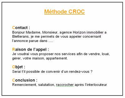 Méthode CROC : PHONING - BTS MUC présentation UC : Horrizon immobilier