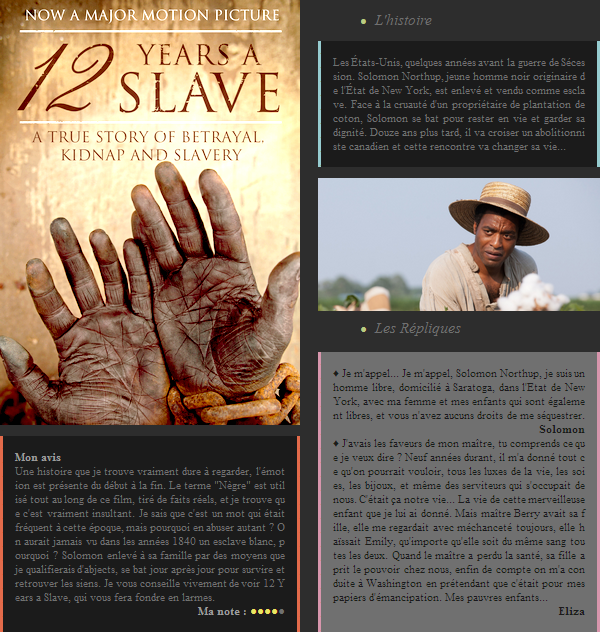 Film : 12 Years a Slave
