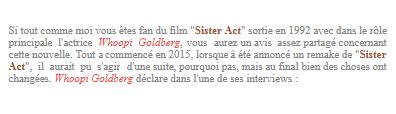 """Film : Un reboot de """"Sister Act"""""""