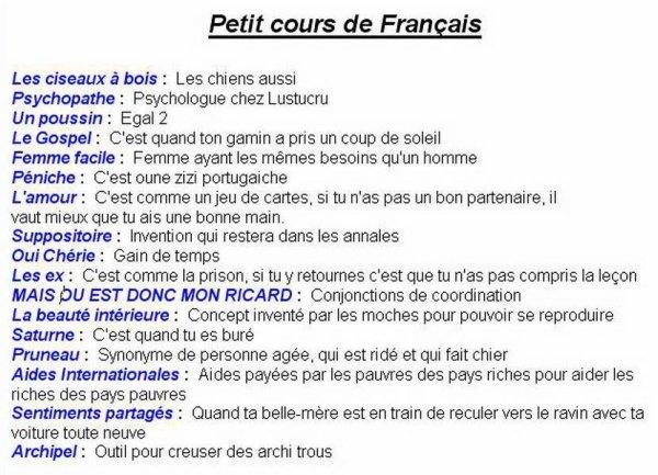 Petit cours de français rapide