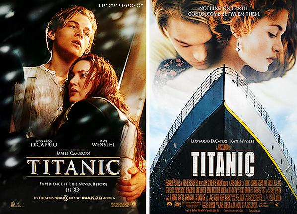 Les deux affiche officielle de Titanic, l'une datant de 1998, année de sortie de Titanic, l'autre de 2012. Votre préféré ? Laquelle correspond le mieux avec le film ? Laquelle auriez vous choisie ? Donnez votre avis.