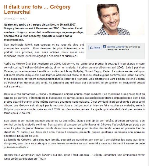 Emission Grégory Lemarchal