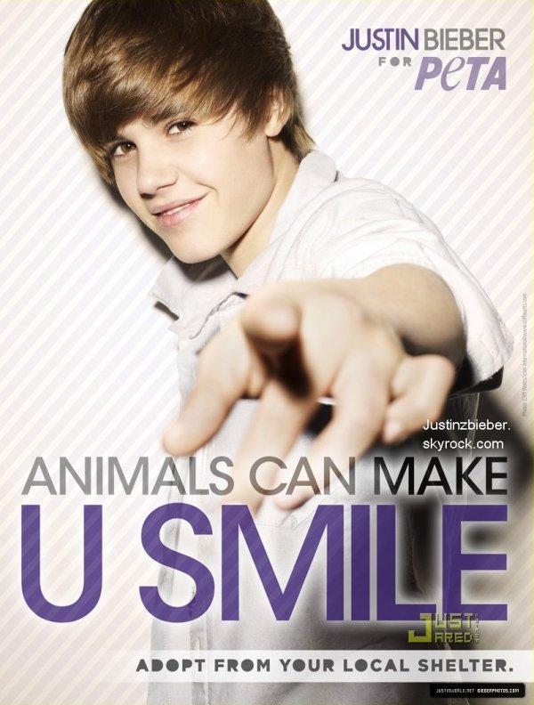 """Justin est, et ce depuis plus d'un an l'un des portes paroles de l'association Peta. Voici son message, contre l'abandon des animaux: """"Il est trés important que les gens adoptent. J'encourage vraiment à aller à un refuge pour animaux ou une place où vous pouvez avoir un chien qui a été abandonné ou qui n'a pas de maison."""""""