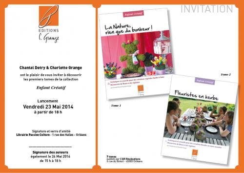 """Invitation pour le lancement de la collection """" Enfant créatif """"                                  de Charlette Grange et Chantal Detry"""