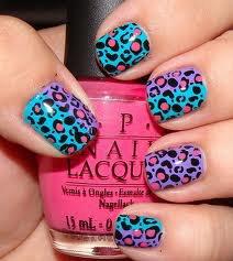 Vernis motifs guépard bleu rose et violet