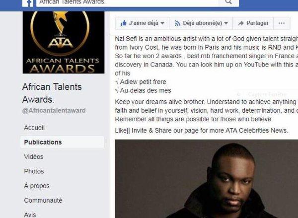 N-ZI article dans africantalent awards
